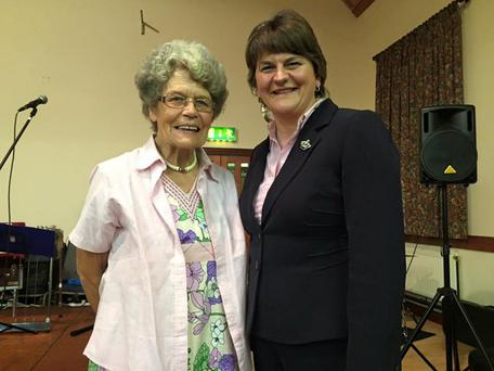 Northern Ireland First Minister Arlene Foster with Maud Kells