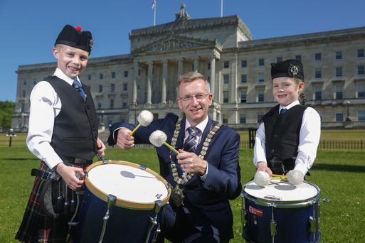 Sounding off: Belfast Lord Mayor Brian Kingston with drummers Oliver and Evie