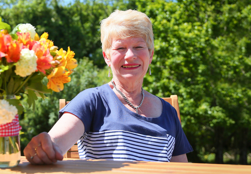 Barbara Irwin of Foliage Works, Hillsborough, and some of her flowers