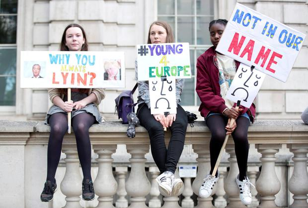 Angry voices: young people protest against the results of the European Referendum (there is no suggestion that people in these photographs have made derogatory remarks about elderly people). Photo credit should read: Nick Ansell/PA Wire