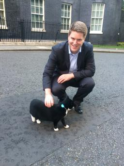 Good Morning Britain reporter Peter Cardwell greets Downing Street cat Palmerston