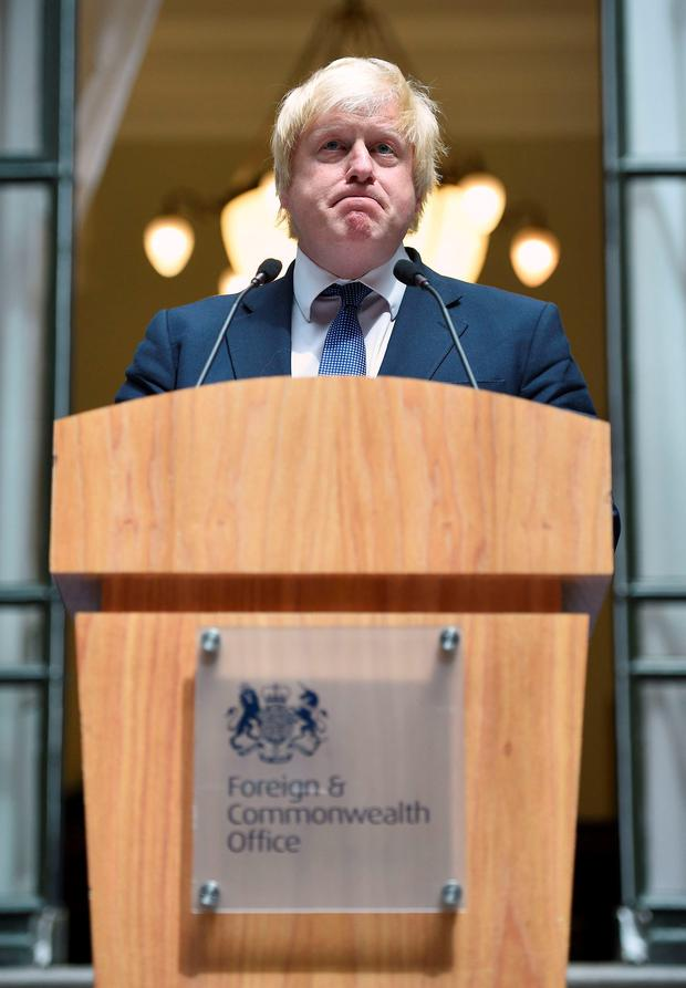 All change: Johnson addressing staff at the Foreign and Commonwealth Office yesterday