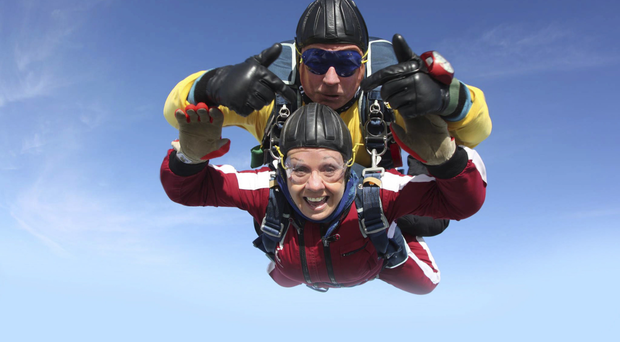 High life: Maura Ward during a skydive