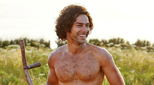 Handsome hunk: Aidan Turner bare-chested in Poldark