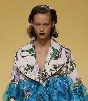Lip sync: a model sports Marni's dark-lipped look