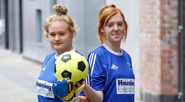 Game on: Emma Fisher (left) and Tracy Patterson
