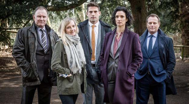 Stunning cast: (from left) Robert Glennister, Lesley Sharp, Dino Fetscher, Indira Varma and Neil Stuke