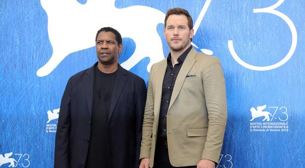 Cowboy dreams: from left, Denzel Washington and Chris Pratt