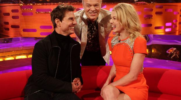 Norton on his show with Tom Cruise and Rosamund Pike