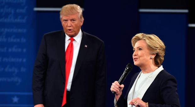 Double trouble: on stage Donald and Hillary could almost be a couple of ageing crooners doing a duet