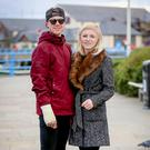 Happy couple: Andy Reid with his fiancee Chloe in Carrickfergus