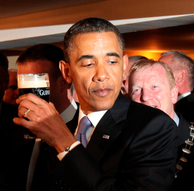 Barack Obama who pulled a pint of the stout in Moneygall