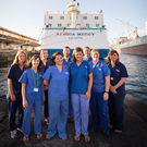 Hope floats: the Northern Ireland volunteers in front of The Africa Mercy