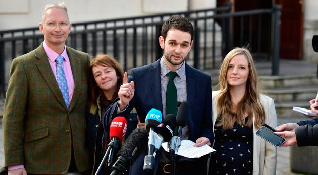 Colin McArthur, Karen McArthur, Ashers bakery boss Daniel McArthur and his wife Amy talk to the media following the Court of Appeal decision