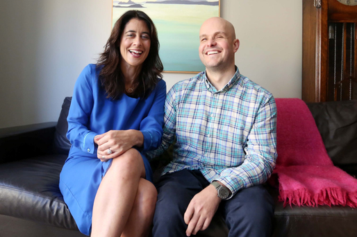 True inspiration: Mark Pollock with his fiancee Simone George at their home in Ranelagh, Dublin