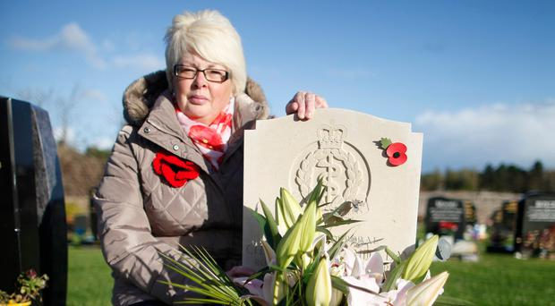 Rosemary Day at her daughter Channing's grave in Comber