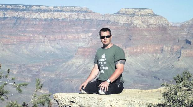 Big challenges: Bryan Phillips takes in the view of the Grand Canyon