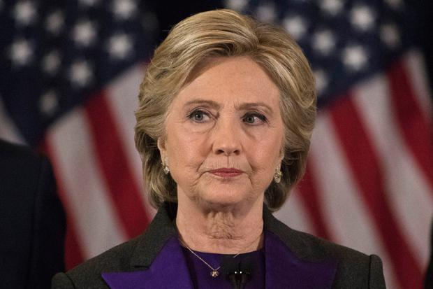 Trumped over: Hillary Clinton looks dismayed after her American dream to become the first female US President ended in defeat