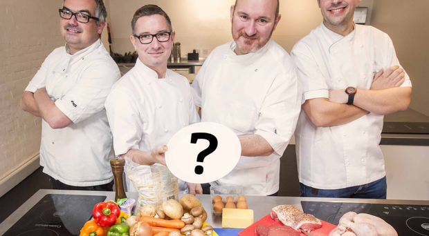 Yes chef: Kelan McMichael, from the Bull and Ram, Chris McGowan, from Wine and Brine, Niall McKenna, of James Street South and Ian Orr, of Browns Restaurant & Ardtara Country House Hotel