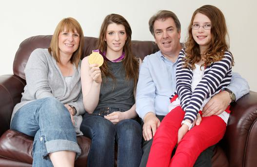 Bethany relaxes at home in Seaforde with mum and dad Lindsey and Peter and younger sister Evie