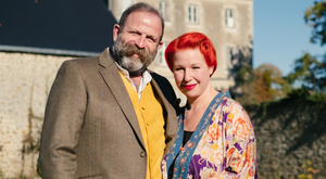 Dick Strawbridge and his wife Angel Adoree outside the chateau they bought in Pays de la Loire