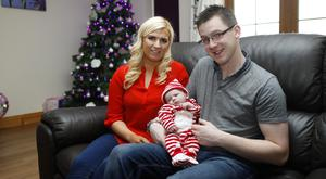 Early present: Eimer Hegarty and husband Eoin from Desertmartin with their new baby Abbie