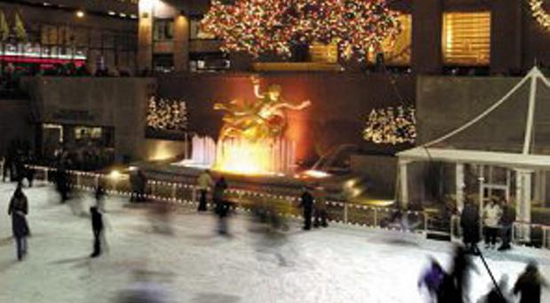 The Rockefeller Centre ice rink in New York