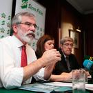 Gerry Adams during a Press conference in Dublin