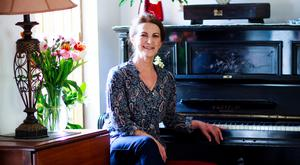 Author Lorna Byrne at the piano in her Kilkenny home
