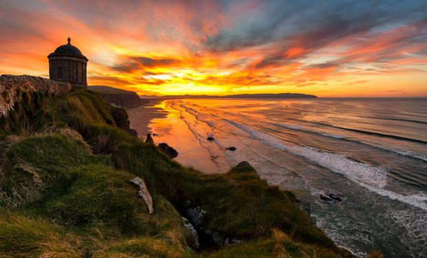 A beautiful sunset at Mussenden Temple