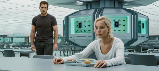 Long journey: Chris Pratt and Jennifer Lawrence have time on their hands