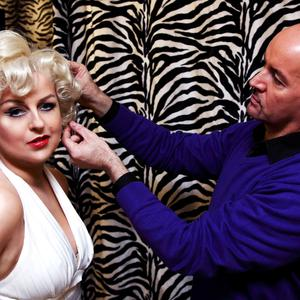 Blonde bombshell: Frances Burscough is turned into Marilyn Monroe by her friend Colin Irwin, who passed away this year