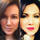 Double take: Susanna Reid with and without (left) make-up on