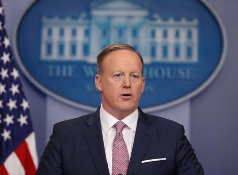 No comment: Donald Trump's spokesman Sean Spicer walked out of a Press conference when confronted by reporters