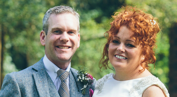 United front: Gillian and Karl Woods on their wedding day