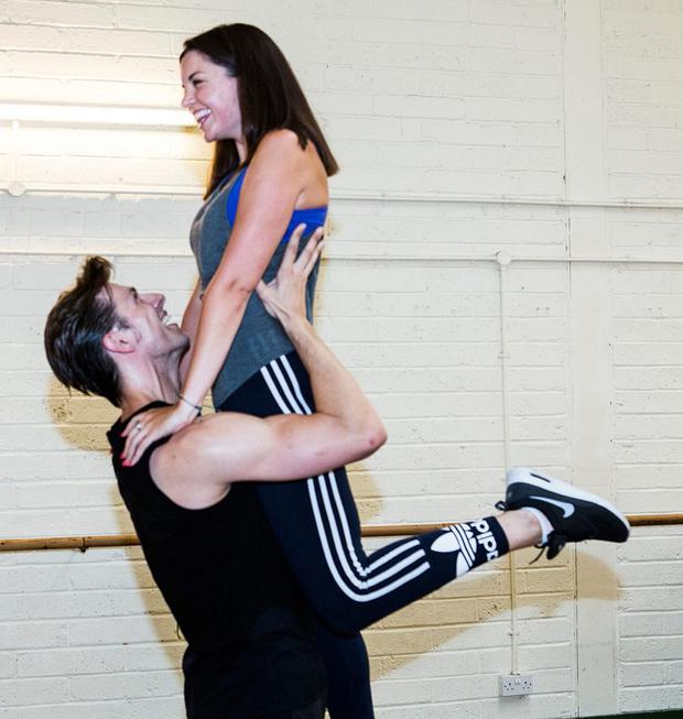 High time: Jennifer practices a lift with leading man Lewis Griffiths