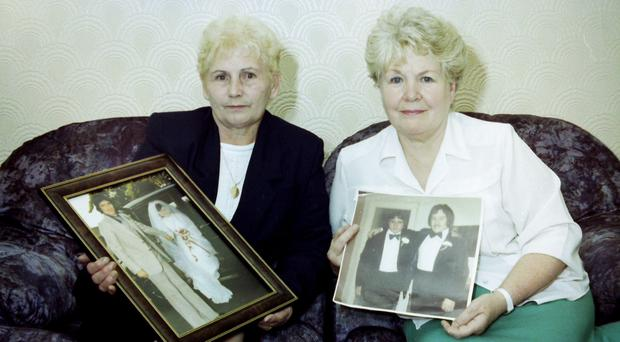 Lost boys: Mary McClory (left) and Margaret McKinney with photos of their sons John McClory and Brian McKinney, who were both kidnapped and murdered by the IRA