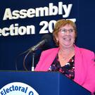 A delighted Dolores Kelly makes her acceptance speech after winning her seat in the recent elections
