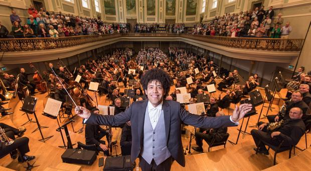 The full orchestra at the Ulster Hall, with conductor Rafael Payare
