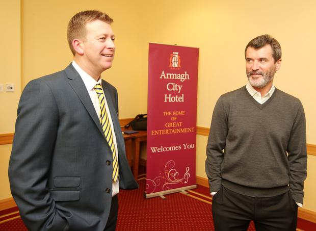 Pat McGibbon with Roy Keane at a Train To Be Smart charity event in Armagh