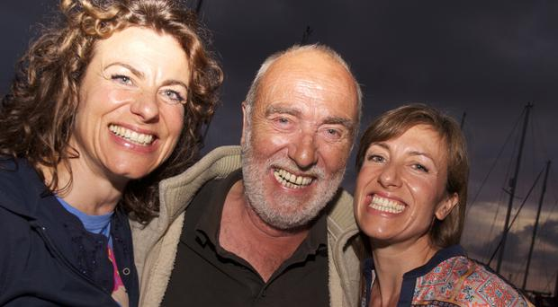 Happy family: Emma Beattie (right) with her dad John and sister Jessica