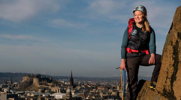 Tall challenge: Mollie Hughes in Edinburgh preparing for her expedition