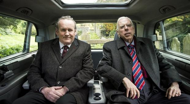 Timothy Spall and Colm Meaney as Paisley and McGuinness in The Journey