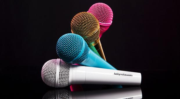 Lucky Voice Karaoke Machine, £60 in pink, blue and white, shop.luckyvoice.com