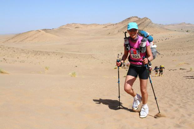 Lauren O'Malley taking part in the Marathon des Sables run in the Sahara Desert