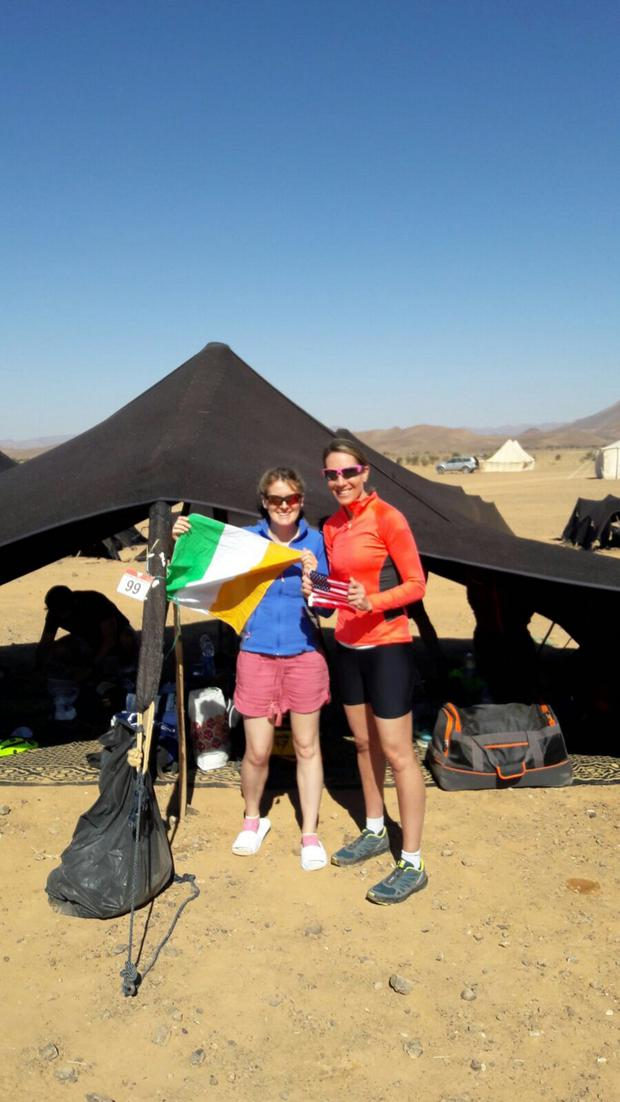Lauren O'Malley with some of her fellow competitors in the epic Marathon des Sables