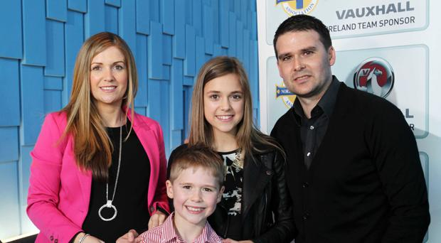 David Healy with wife Emma and children Jude and Taylor