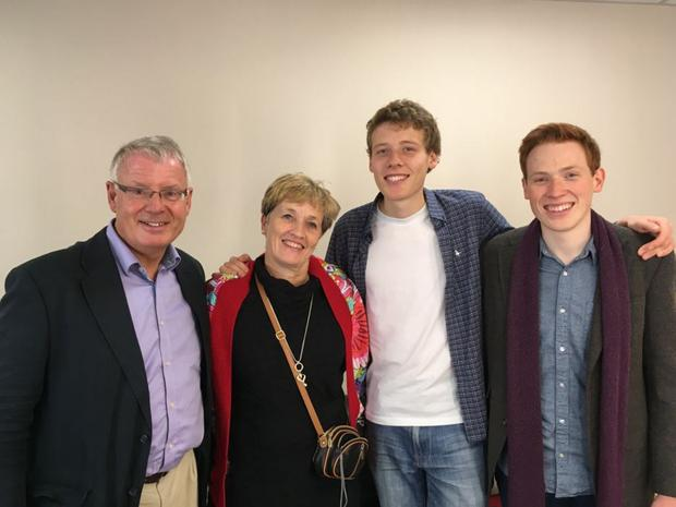 Family pride: with parents Nigel and Kay, and brother Jamie
