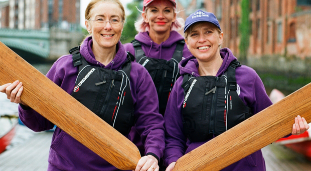 Paddle power: Dr Gwyneth Hinds, Joanne Rocks and Karen Case from the Lagan Dragons