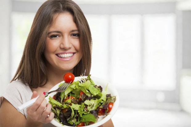 No one is this happy eating a salad.